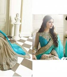 Buy aqua_blue embroidered lycra saree With Blouse party-wear-saree online