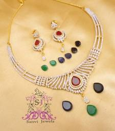 Buy American Diamond Changeable Necklace Set  Necklace online