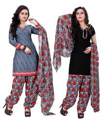 Buy Grey and black crepe printed semi stitiched salwar with dupatta salwar-combo online