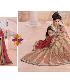 Buy Cream and red embroidered georgette saree with blouse lehenga-below-3000 online