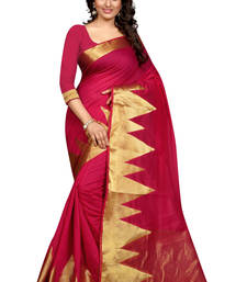 Buy pink woven cotton poly saree With Blouse south-indian-saree online