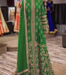 Buy Green art silk embroidered semi stitched salwar with dupatta pakistani-salwar-kameez online