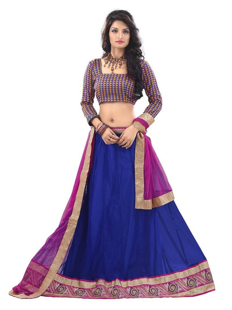 Buy Blue Georgette Plain Unstitched Ghagra Choli Online