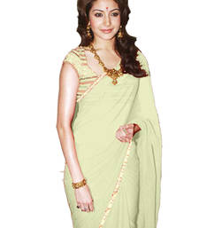 Buy OFF WHITE  plain faux georgette saree With Blouse anushka-sharma-saree online