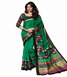 Buy Siddhi Collection Green Bhagalpuri art silk saree bhagalpuri-silk-saree online
