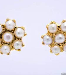 Buy 7 STONE STUDDED FLOWER SHAPED TOPS/STUDS/EARRINGS (PEARL) - PCE1107 Other online