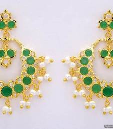 Buy ROYAL STONE STUDDED REAL PEARL DROPS CHAAND BAALI/HANGINGS/EARRINGS (AD EMRALD) - PCE1110 Other online