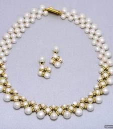 Buy UNIQUE BUTTON PEARLS NECKLACE SET FROM HYDERABAD - PCN1001 necklace-set online