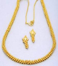 Buy EXCLUSIVE GOLD BALLS KADI WORK MALA WITH EARRINGS - PCN1035 necklace-set online