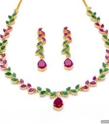 FLOWER LEAF NECKLACE SET WITH EARRINGS (RUBY EMRALD) - PCN1071