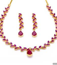 Buy FLOWER LEAF NECKLACE SET WITH EARRINGS (RUBY) - PCN1072 Necklace online
