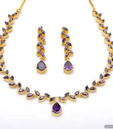 Buy FLOWER LEAF NECKLACE SET WITH EARRINGS (VIOLET) - PCN1074 necklace-set online