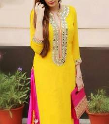 Buy Yellow cotton embroidered semi stitiched salwar with dupatta party-wear-salwar-kameez online