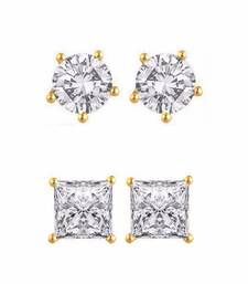 Buy White Combo of Gold Plated Earrings combo-earring online
