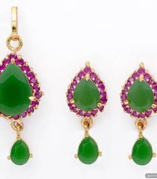Buy EXOTIC STONE STUDDED PAAN LOCKET SET WITH EARRINGS (EMRALD RUBY) - PCL1010 Pendant online