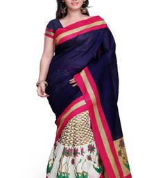 Buy multicolor printed cotton silk saree With Blouse south-indian-saree online