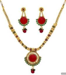 Buy ANTIQUE GOLDEN STONE STUDDED JAALI WORK NECKLACE SET (RED GREEN)  - PCAN4014 necklace-set online