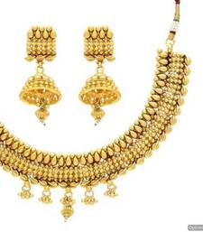 Buy ANTIQUE GOLDEN TRADITIONAL NECKLACE SET (GOLD)  - PCAN4035 necklace-set online