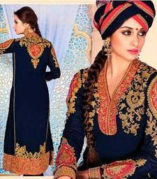 Buy Dark blue georgette embroidery anarkali salwar kameez party-wear-salwar-kameez online