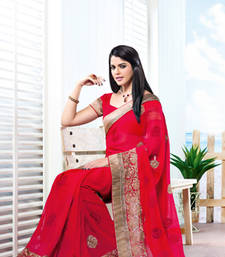 Buy Vishal Chiffon Maroon Saree Tropical Bloom 31608A party-wear-saree online