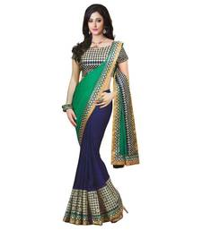 Buy GreenYellow Colour Colour Embroidery Pura Georgatte Sarees With Blouse Pie new-year-gift online