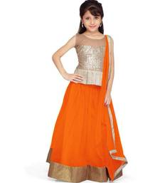 Orange embroidered net semi stiched  kids lengha choli with dupatta shop online