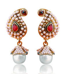 Ethnic Paisley Earrings with Rich Pearls by ADIVA ABARI00I0068 shop online