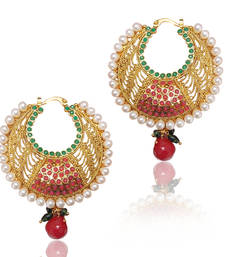 Buy Red Green Polki Earring with Beautiful Jali Work vi196 TDS 4 hoop online