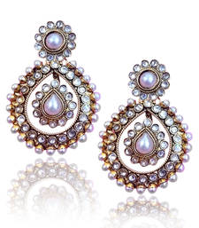 Buy Ethnic Golden Earrings with Pearls by ADIVA C162 danglers-drop online