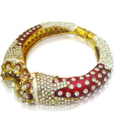 Amazing Red White Meenakari Kada Bangles by ADIVA ABJAY0C00005 shop online