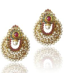 Buy Amazing Red Green Pearl Polki Earrings by ADIVA ABCHI0BCD007 DDS 1 gifts-for-her online