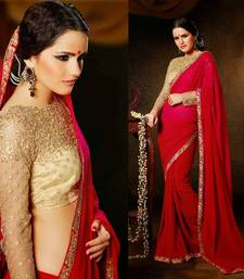 Buy Ravishing Red with Golden Designer Heavy look Blouse Party Wear Saree georgette-saree online