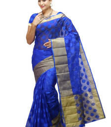Buy blue woven organza saree With Blouse organza-saree online