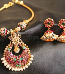 Buy GORGEOUS TRADITIONAL KEMP STONE GANESHA NECKLACE SET  south-indian-jewellery online
