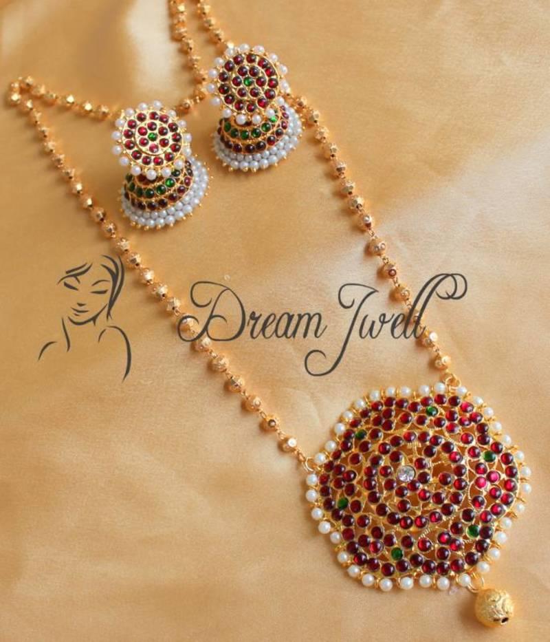 Buy Beautiful Long Floral Temple Jewel Necklace Set Online
