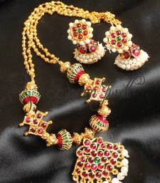 Buy BEAUTIFUL VERY UNIQUE TEMPLE JEWEL NECKLACE SET necklace-set online