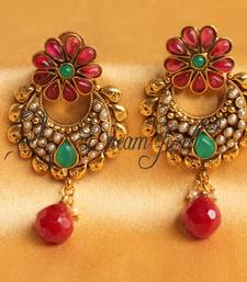 Buy BEAUTIFUL ANTIQUE FLORAL BALI EARRINGS hoop online