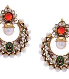 Buy BEAUTIFUL GOLD PLATED GREEN RED N WHITE PEARLS ROUND HANGINGS danglers-drop online
