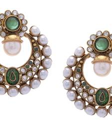 Buy BEAUTIFUL GOLD PLATED GREEN N WHITE PEARLS ROUND HANGINGS danglers-drop online