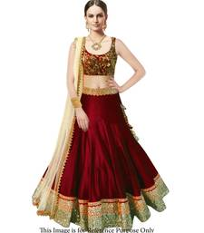 Buy Maroon Banglori Silk Party Wear ghagra choli anarkali-salwar-kameez online