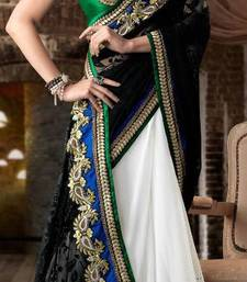 Buy White With Black Brasso Half & Half Designer Saree georgette-saree online