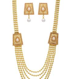 Buy ANTIQUE GOLDEN WHITE PEARLS SIDE LOCKET NECKLACE SET Other online