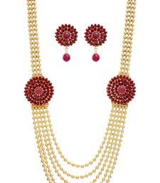 Buy ANTIQUE GOLDEN RED PEARLS SIDE LOCKET NECKLACE SET Necklace online