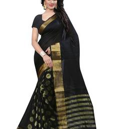 Buy dark black hand_woven Tussar Silk saree With Blouse tussar-silk-saree online