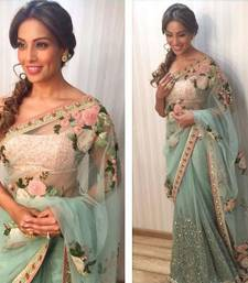 Buy Designer aqua blue embroidered net saree With Blouse bipasha-basu-saree online