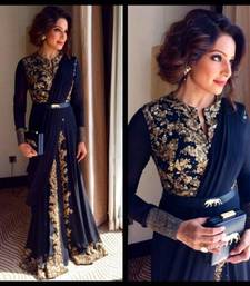 Buy navy blue salwar georgette semi stitched salwar with dupatta semi-stitched-salwar-suit online