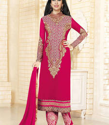 Buy magenta georgette embroidered semi stitiched salwar with dupatta pakistani-salwar-kameez online