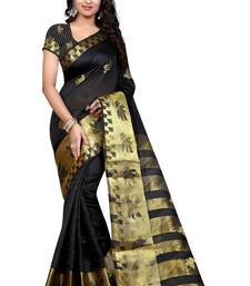 Buy BLACK hand woven tussar silk saree With Blouse tussar-silk-saree online