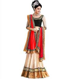 Buy White and red georgette embroidered unstitched lehenga choli lehenga-choli online