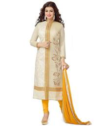 Buy White chanderi embroidered semi stitiched salwar with dupatta party-wear-salwar-kameez online